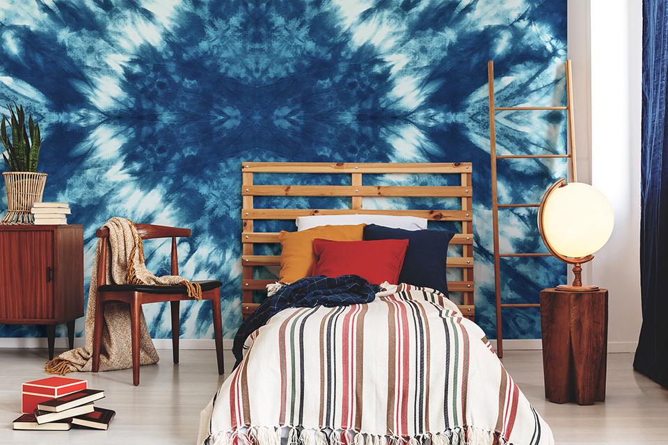 Papier peint tie dye bleu