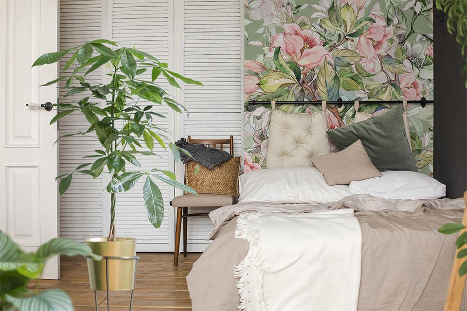 Papier peint végétal pour la chambre à coucher