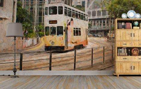 Papier peint avec un autobus
